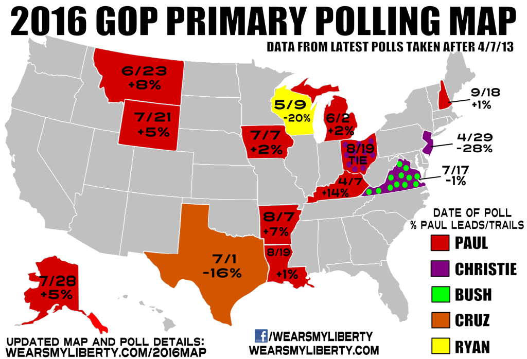 Rand Paul Leading   2016 GOP Primary Polling Map